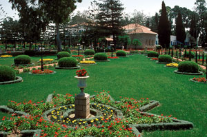 Formal gardens surround Shrine Of Bahaullah