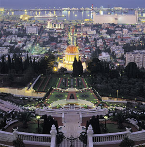 View from above the Bahai shrine on Mount Carmel