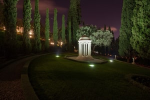 Resting Place of the Greatest Holy Leaf at night the daughter of Baháulláh in the Monument Gardens